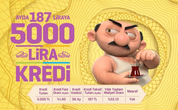 Ayda 187 liraya 5.000 lira kredi!